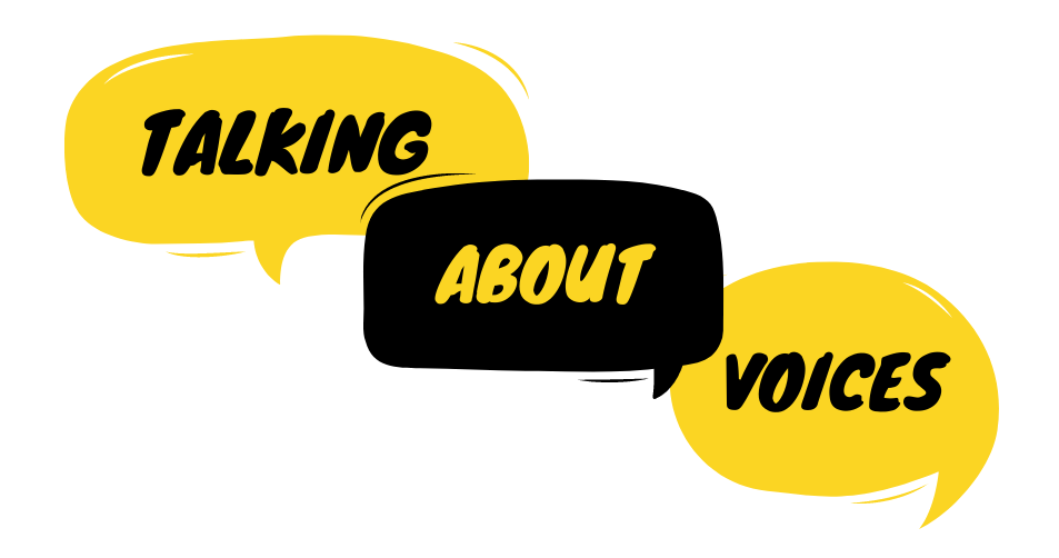 'Talking About Voices' logo, with the words in speech bubbles.