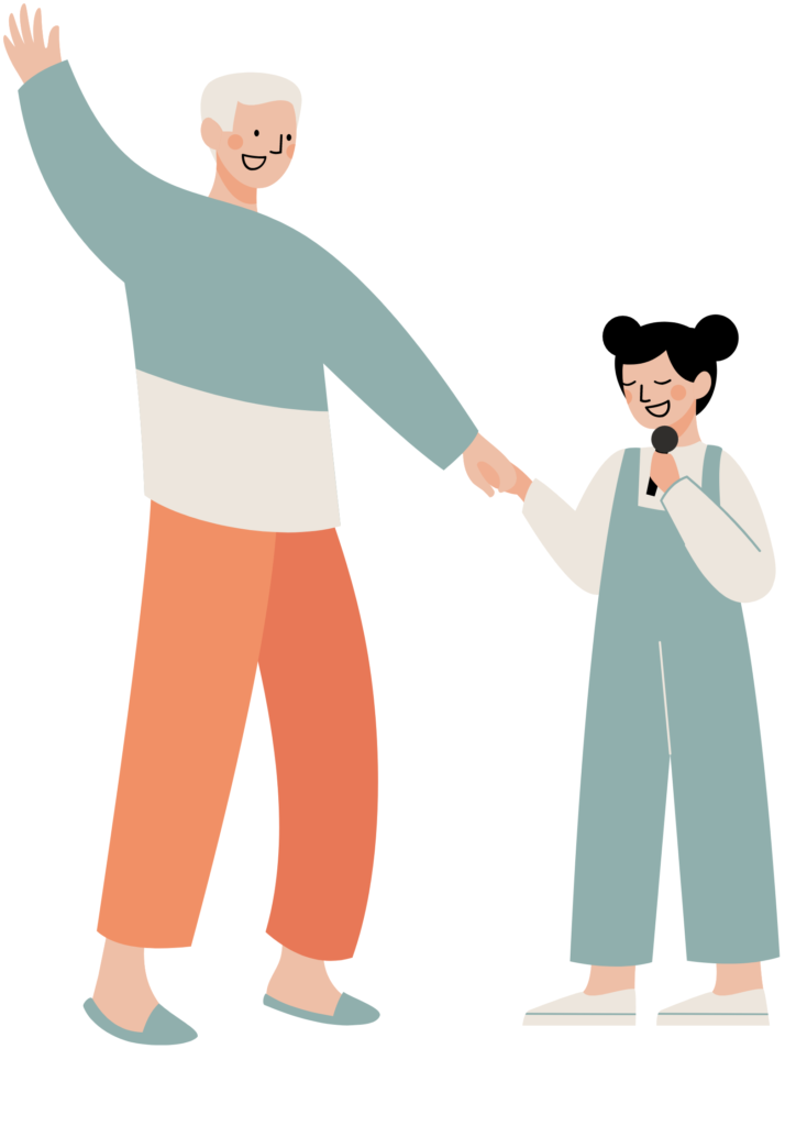 Cartoon of a child and grandparent holding hands. The child is holding a microphone.