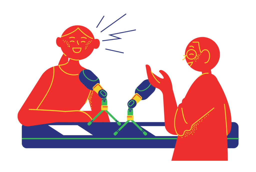 Cartoon showing two people talking sitting together at a table with microphones between them.