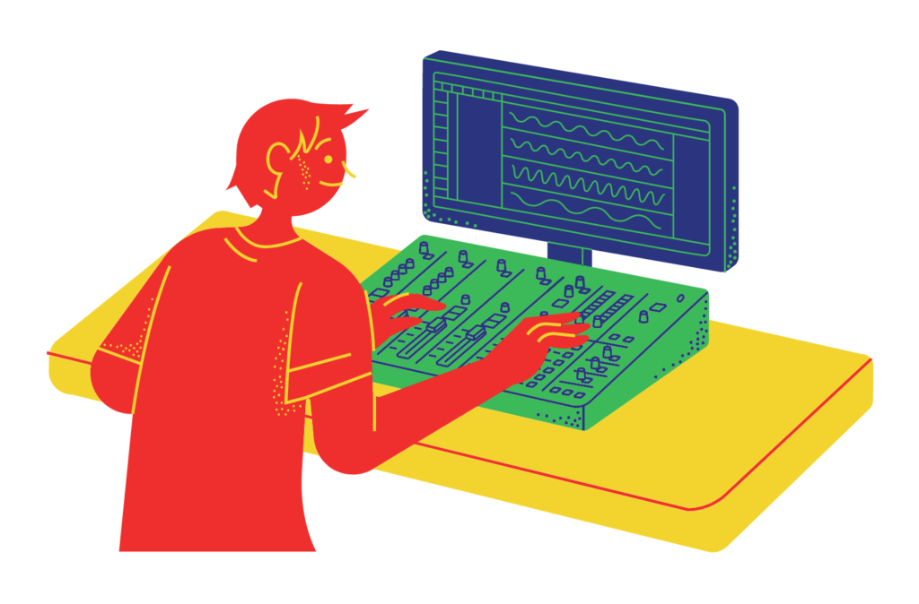 Cartoon of someone editing audio on a computer using a fancy mixing desk.