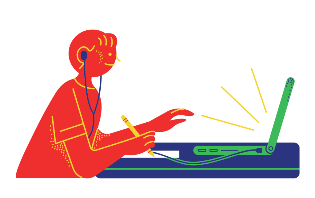 Cartoon of someone with headphones plugged in to a laptop and making notes while listening.
