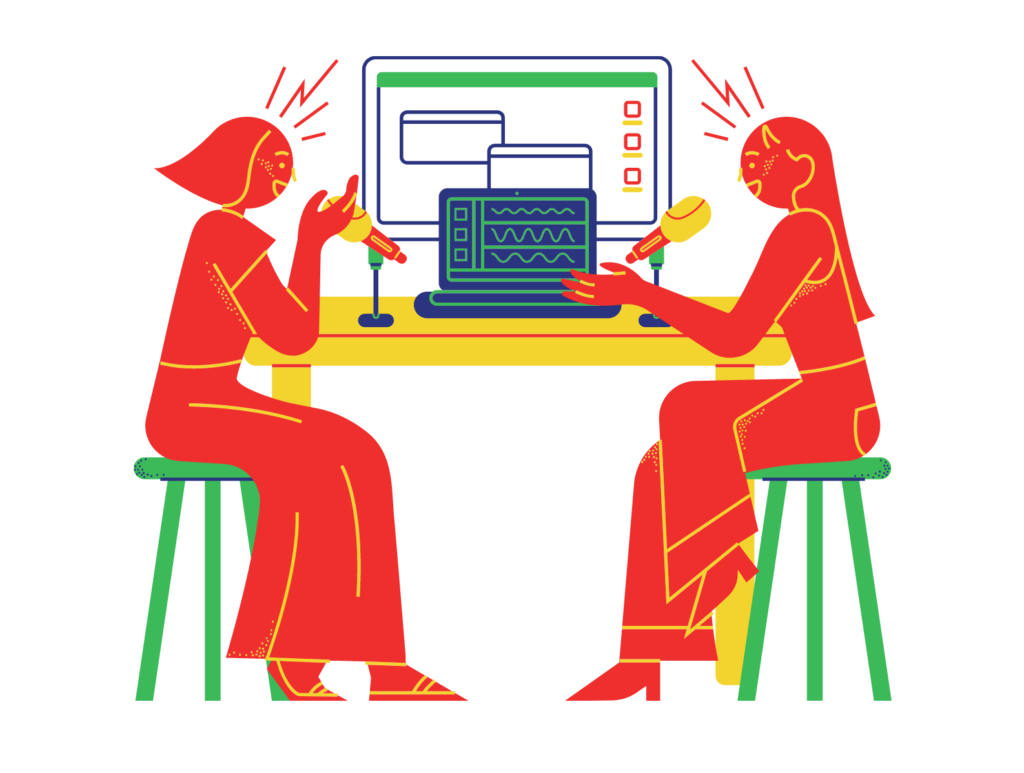 Cartoon of two people sitting at a table talking to each other with microphones and a laptop between them.