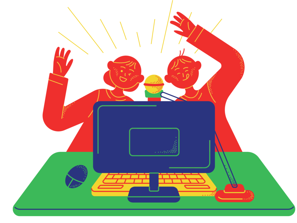 Cartoon of two people waving form behind a computer, which has a microphone attached to it.